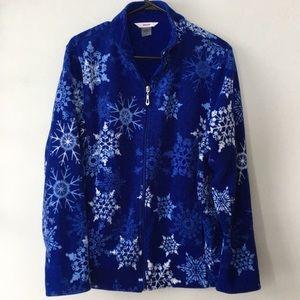 ❄️ Vintage Alia Snowflake Fleece Zip-up Sweater LG